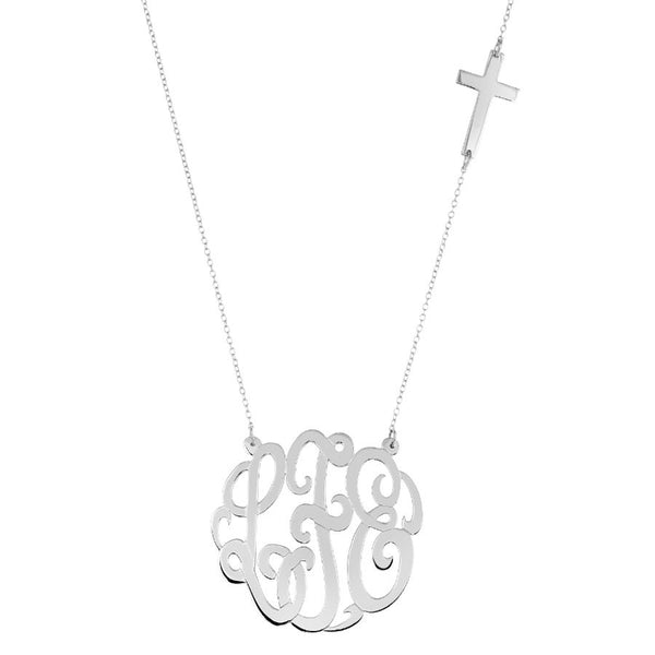 Gold Monogram Necklace with Sideways Cross by Purple Mermaid Designs Apparel & Accessories > Jewelry > Necklaces - 2