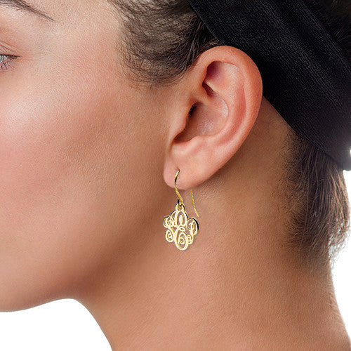 Gold Monogram Dangle Earrings Apparel & Accessories > Jewelry > Earrings - 2