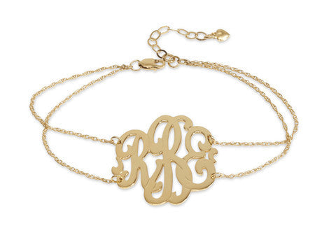 Script Monogram Double Chain Bracelet by Moon and Lola Apparel & Accessories > Jewelry > Bracelets