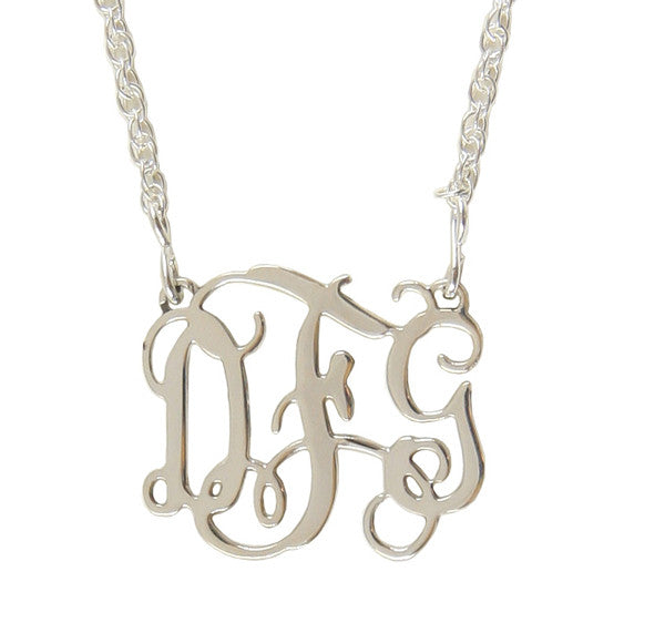 Small Sterling Silver Filigree Monogram Necklace-Split Chain Apparel & Accessories > Jewelry > Necklaces - 2