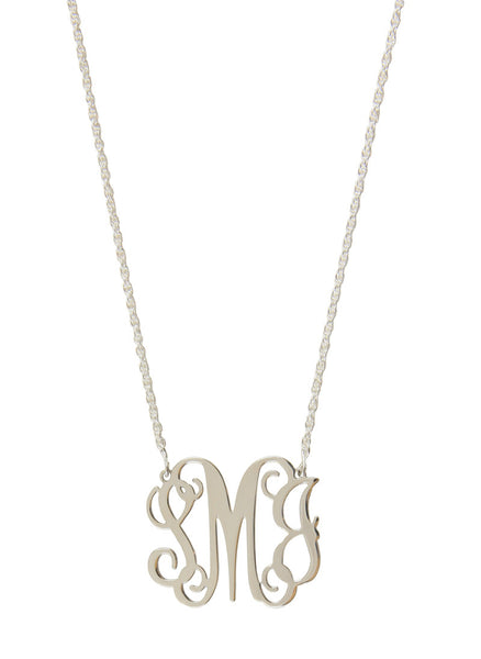 Sterling Silver Filigree Monogram Necklace-Split Chain Apparel & Accessories > Jewelry > Necklaces - 3