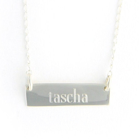 Personalized Silver Plated Horizontal Bar Necklace Apparel & Accessories > Jewelry > Necklaces - 2