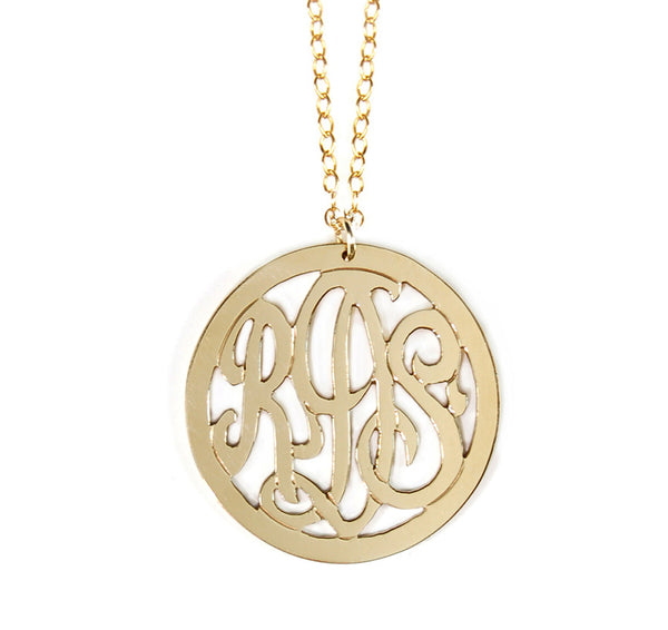 Miriam Merenfeld 3 Initial Rimmed Monogram Necklace Apparel & Accessories > Jewelry > Necklaces - 1