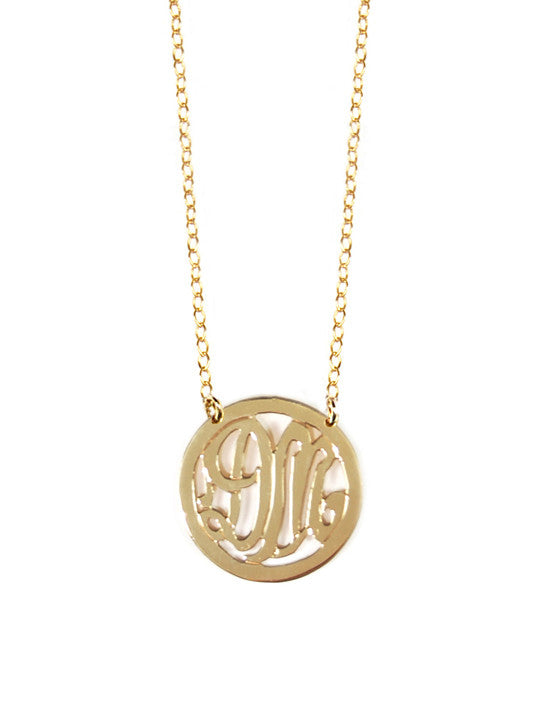 Miriam Merenfeld 2 Initial Rimmed Monogram Necklace - Split Chain