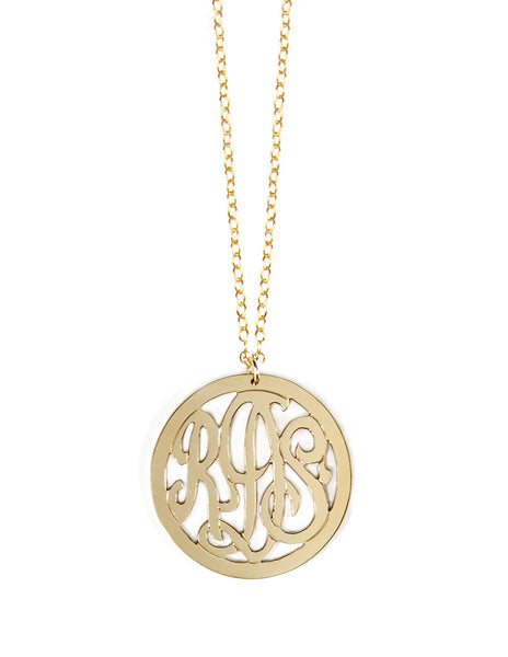 Miriam Merenfeld 3 Initial Rimmed Monogram Necklace Apparel & Accessories > Jewelry > Necklaces - 2
