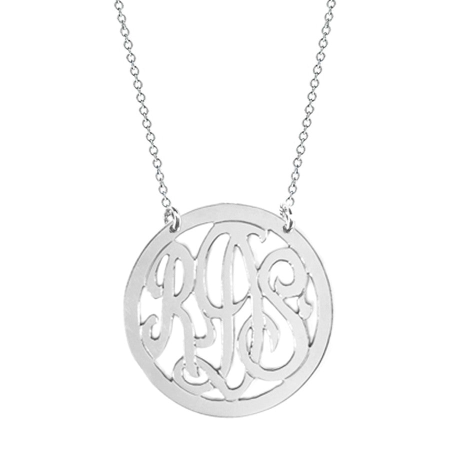 3 Initial Rimmed Monogram Necklace - Split Chain Apparel & Accessories > Jewelry > Necklaces - 1