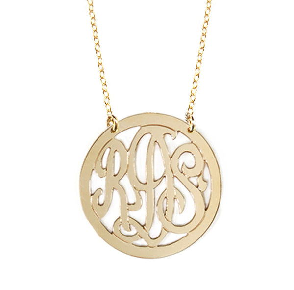 3 Initial Rimmed Monogram Necklace - Split Chain Apparel & Accessories > Jewelry > Necklaces - 2