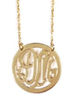 Miriam Merenfeld 2 Initial Rimmed Monogram Necklace - Split Chain Apparel & Accessories > Jewelry > Necklaces - 2