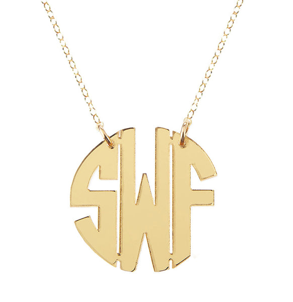 Miriam Merenfeld  Block Monogram Necklace - Split Chain Apparel & Accessories > Jewelry > Necklaces - 1