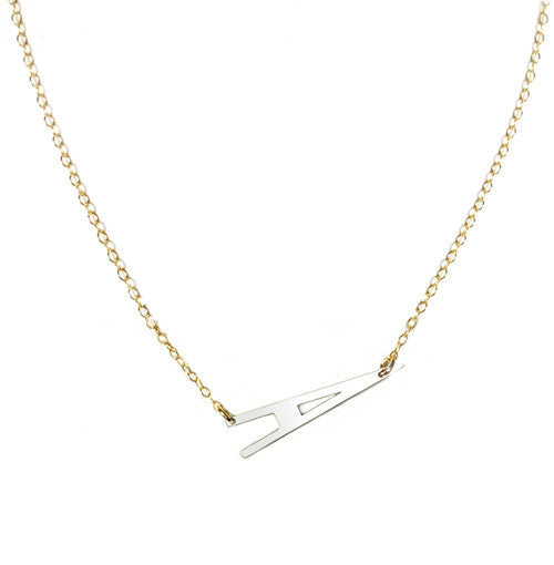 Large Sideways Initial Necklace-Miriam Merenfeld Apparel & Accessories > Jewelry > Necklaces - 2