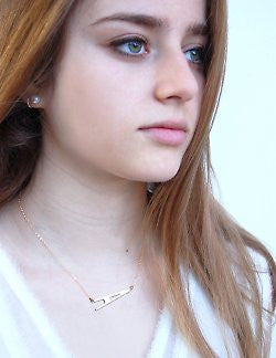 Large Sideways Initial Necklace-Miriam Merenfeld Apparel & Accessories > Jewelry > Necklaces - 3