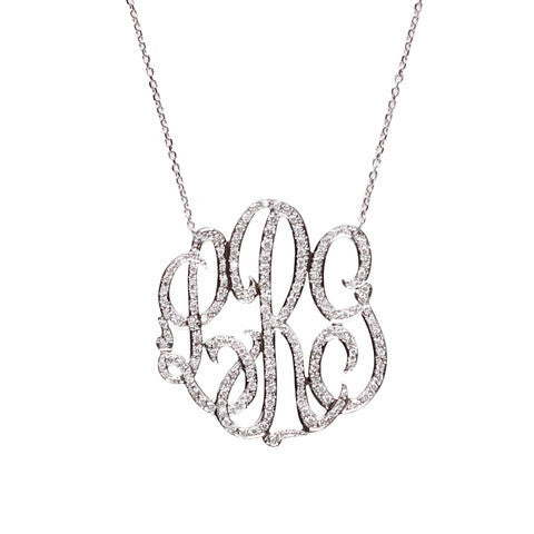 Gold and Diamond Monogram Necklace-Moon and Lola Apparel & Accessories > Jewelry > Necklaces - 1