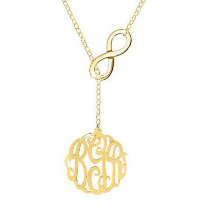 Infinity Monogram Lariat Necklace by Purple Mermaid Designs Apparel & Accessories > Jewelry > Necklaces - 3