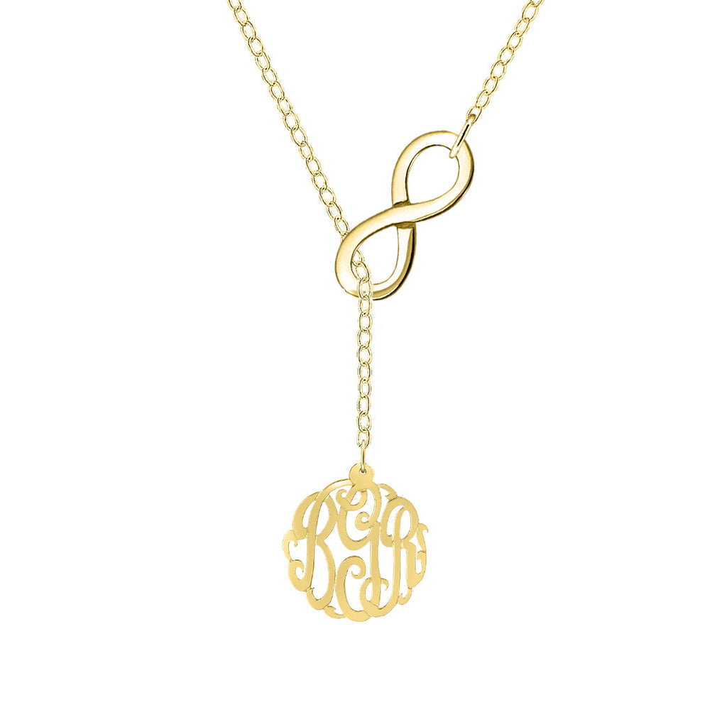 Infinity Monogram Lariat Necklace by Purple Mermaid Designs Apparel & Accessories > Jewelry > Necklaces - 1