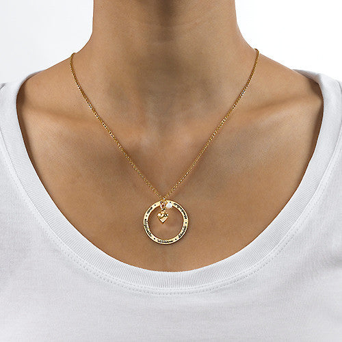 Personalized Gold Mothers Loop Necklace with Heart Apparel & Accessories > Jewelry > Necklaces - 2