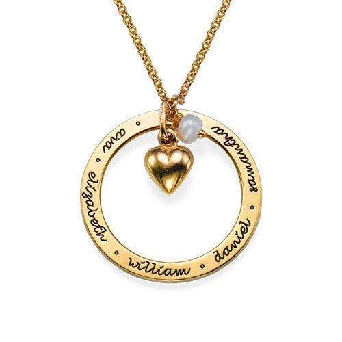 Personalized Gold Mothers Loop Necklace with Heart Apparel & Accessories > Jewelry > Necklaces - 1