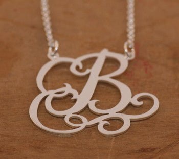 Caja Sterling Silver Custom Initial Necklace ~ Split Chain Apparel & Accessories > Jewelry > Necklaces