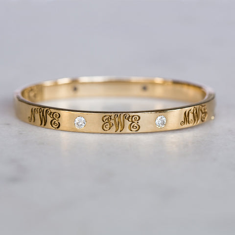 Signature Monogram Diamond Bangle - Golden Thread