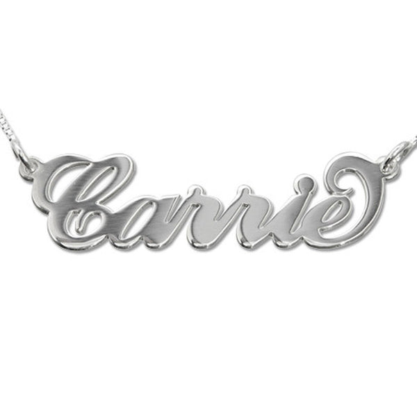 Silver Nameplate Necklace - Carrie Style