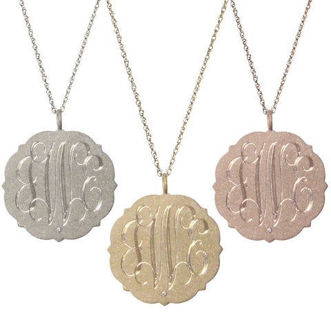 14K Gold Large Scalloped Disc Diamond Monogram Necklace Apparel & Accessories > Jewelry > Necklaces