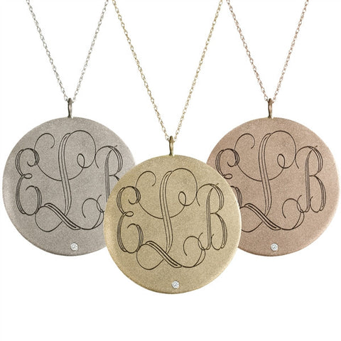 14K Gold Large Round Diamond Monogram Necklace Apparel & Accessories > Jewelry > Necklaces