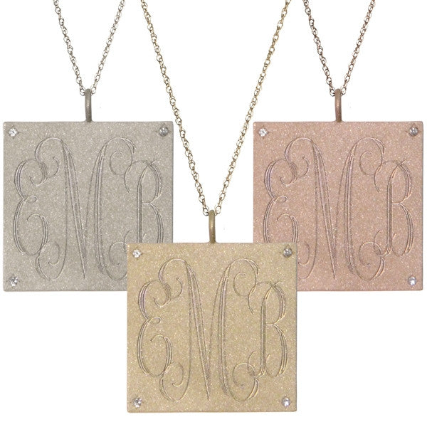 14K Gold Large Square Diamond Monogram Necklace Apparel & Accessories > Jewelry > Necklaces