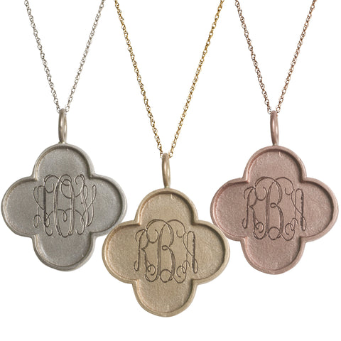 Golden Thread 14K Gold Large Edge Clover Monogram Necklace Apparel & Accessories > Jewelry > Necklaces