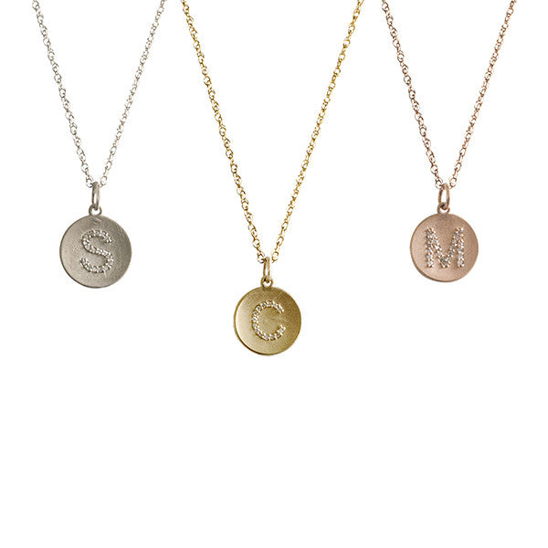Golden Thread 14K Gold Diamond Initial Necklace Apparel & Accessories > Jewelry > Necklaces