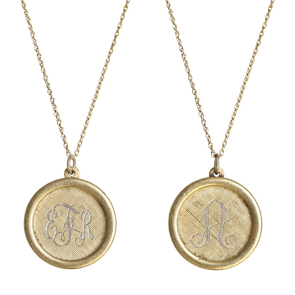 14K Gold Filled Rimmed Engraved Disc Necklace Apparel & Accessories > Jewelry > Necklaces - 1