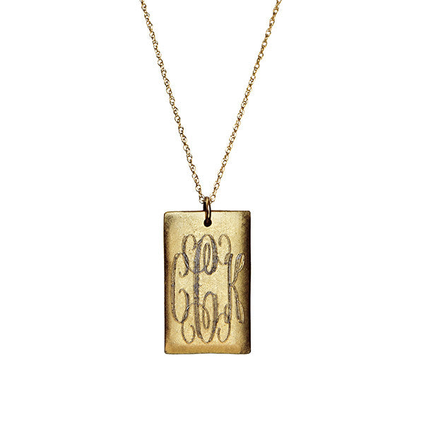14K Gold Filled Engraved Large Rectangle Necklace Apparel & Accessories > Jewelry > Necklaces - 1