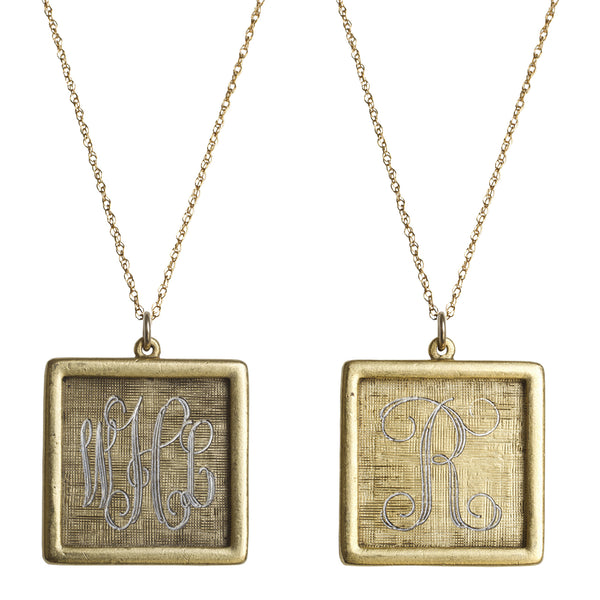 Antiqued 14K Gold Filled Engraved Square Necklace Apparel & Accessories > Jewelry > Necklaces - 1