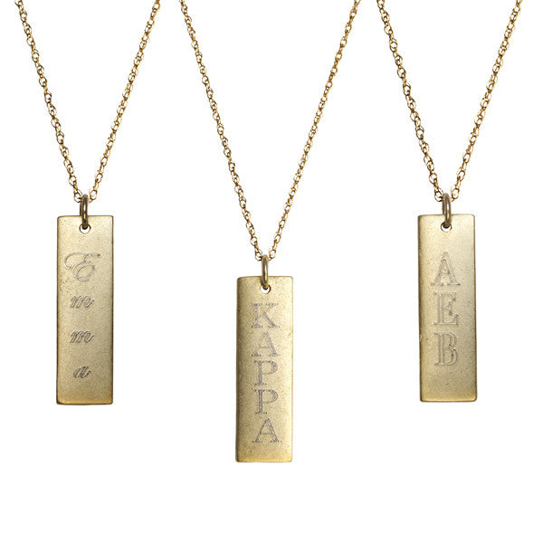 14K Gold Filled Engraved Rectangle Necklace Apparel & Accessories > Jewelry > Necklaces