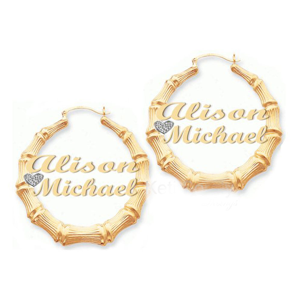 9116d2b3c 24K Gold Plated Two Name and Heart Bamboo Hoop Earrings – Initial Obsession