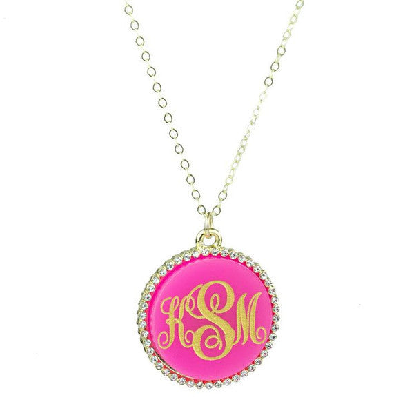 Gold Monogram Necklace - Vannes CZ - Moon and Lola Apparel & Accessories > Jewelry > Necklaces - 2