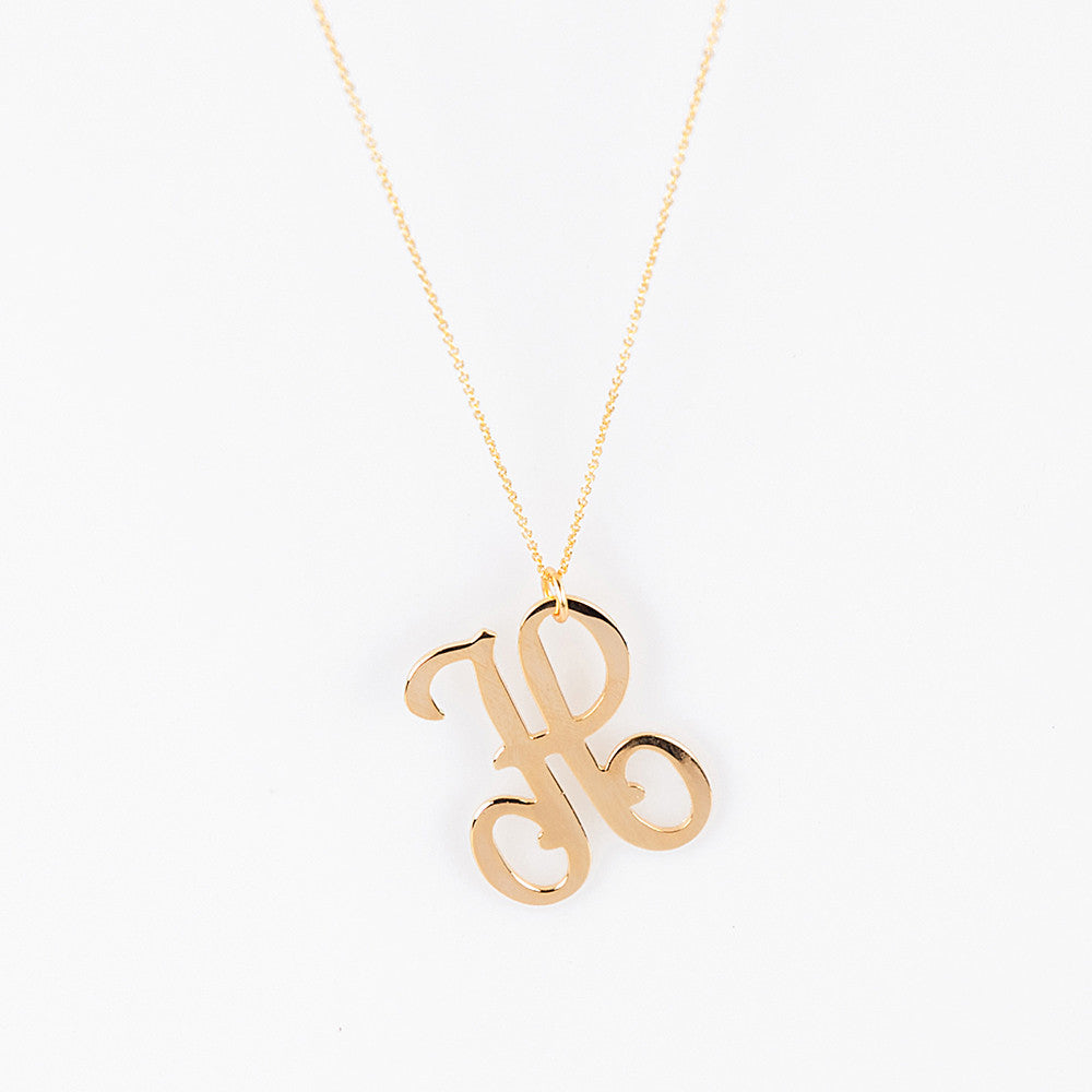 Lisa Stewart 18k Gold Plated Script Initial Necklace Apparel & Accessories > Jewelry > Necklaces