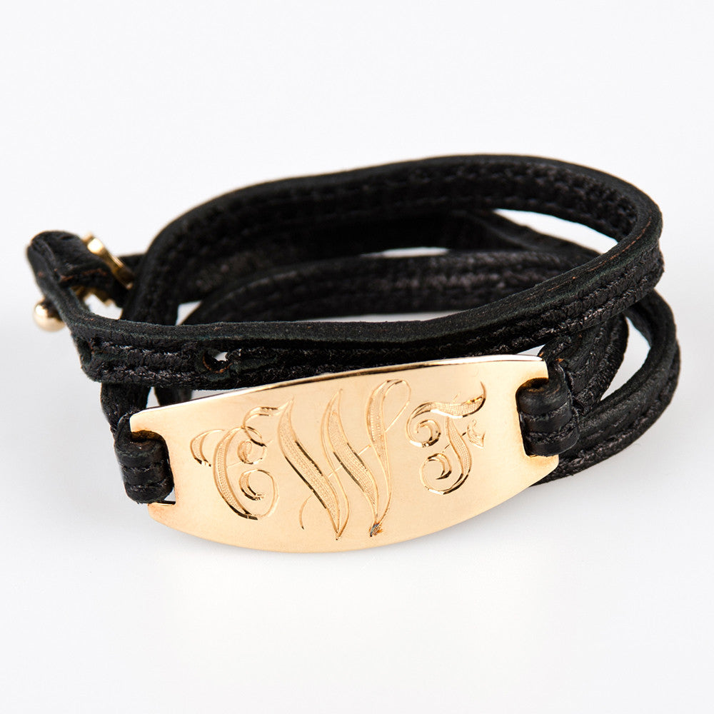 Lisa Stewart Gold and Leather Monogram Wrap Bracelet Apparel & Accessories > Jewelry > Bracelets - 1