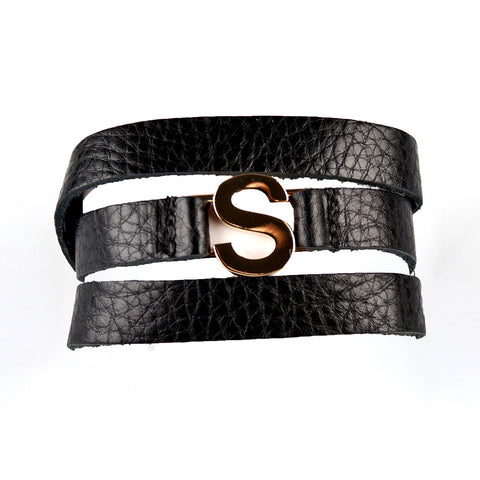 Lisa Stewart Leather Wrap Initial Bracelet Apparel & Accessories > Jewelry > Bracelets - 1