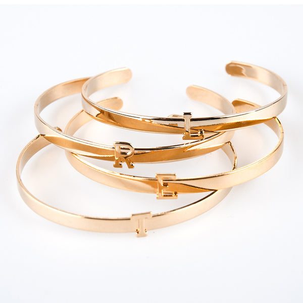 Lisa Stewart Tiny Gold Initial Cuff Bracelet Apparel & Accessories > Jewelry > Bracelets - 1