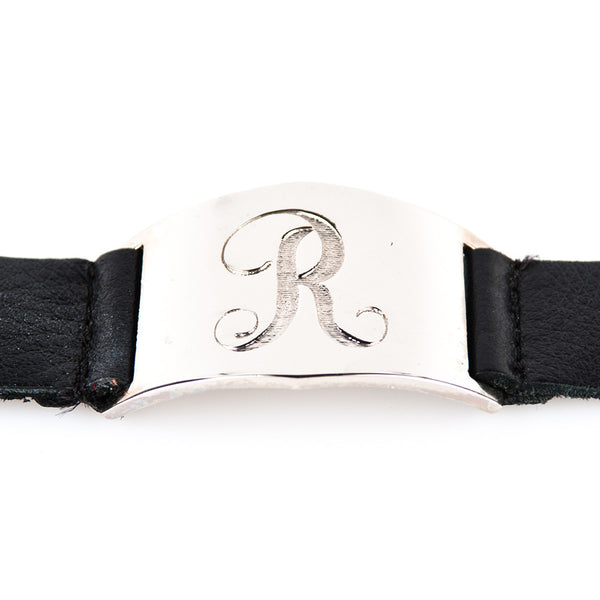 Lisa Stewart Leather Initial Cuff Bracelet Apparel & Accessories > Jewelry > Bracelets - 1