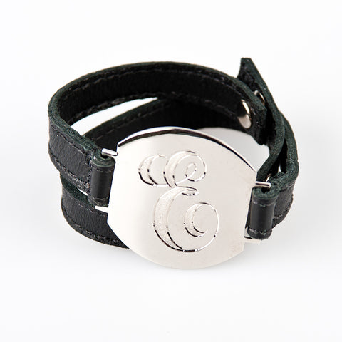Lisa Stewart Silver and Leather Wrap Monogram Bracelet Apparel & Accessories > Jewelry > Bracelets - 1