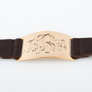 Lisa Stewart Gold and Leather Monogram Bracelet Apparel & Accessories > Jewelry > Bracelets