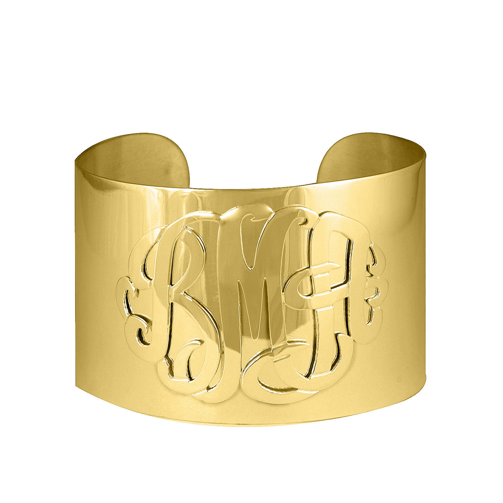Gold Monogram Thick Cuff Bracelet by Purple Mermaid Designs Apparel & Accessories > Jewelry > Bracelets