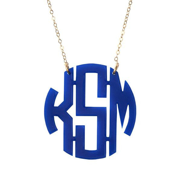 Acrylic Round Monogram Necklace by Moon and Lola Apparel & Accessories > Jewelry > Necklaces - 2