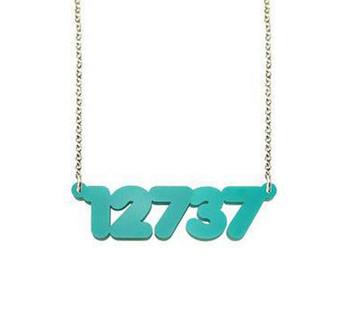 Script Acrylic Zip Code Necklace by Purple Mermaid Designs Apparel & Accessories > Jewelry > Necklaces - 1