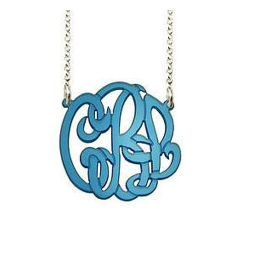 Acrylic Monogram Necklace on Split Chain by Purple Mermaid Designs Apparel & Accessories > Jewelry > Necklaces - 1