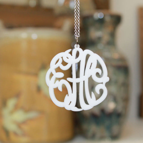 Acrylic Monogram Necklace by Purple Mermaid Designs Apparel & Accessories > Jewelry > Necklaces - 1