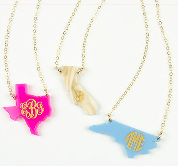 Acrylic State Monogram Necklace - Moon and Lola Apparel & Accessories > Jewelry > Necklaces - 2