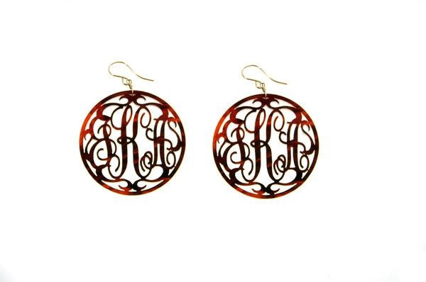 Acrylic Rimmed Script Monogram Earrings by Moon and Lola Apparel & Accessories > Jewelry > Earrings - 1