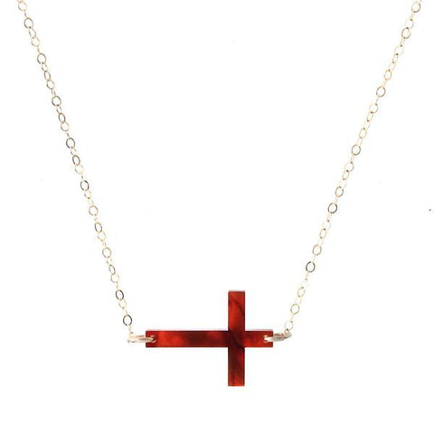 Acrylic Sideways Cross Necklace by Moon and Lola Apparel & Accessories > Jewelry > Necklaces - 1