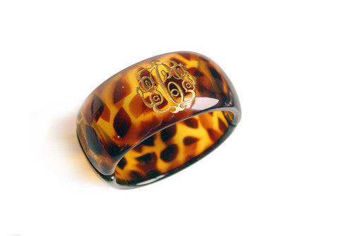 Acrylic Tortoise Shell Monogram Cuff Bracelet by Moon and Lola Apparel & Accessories > Jewelry > Bracelets - 1